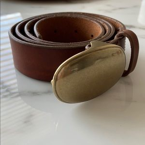J. Crew Brown Leather Belt with Brass Buckle